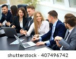 happy business people talking... | Shutterstock . vector #407496742