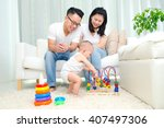 asian parent looking at their... | Shutterstock . vector #407497306