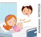 maternity ward. mother holding... | Shutterstock .eps vector #407509126