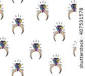 cartoon hand drawn diamond ring.... | Shutterstock . vector #407531578