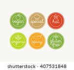 vector set of food menu badges... | Shutterstock .eps vector #407531848