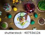 easter celebrating family... | Shutterstock . vector #407536126