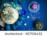 bright blue painted eggs ... | Shutterstock . vector #407536132