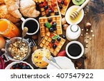 health and colorful breakfast   ... | Shutterstock . vector #407547922