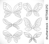 fairy wings outlines set... | Shutterstock .eps vector #407548192