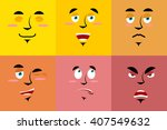 set of cartoon face with... | Shutterstock .eps vector #407549632