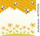 floral background with honey... | Shutterstock . vector #407553256