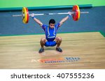 Small photo of Rio de Janeiro, Brazil - April 8, 2016: EVENT TEST WEIGHT LIFTING - Rocafuerte Enmanuel (ECU) in 62 kg men's category for Test Event Weightlifting Arena Carioca 1 at Olimpico Park.