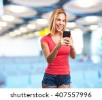 young blond girl. happy... | Shutterstock . vector #407557996