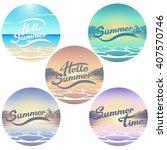 Summer Seaside View Emblems Se...