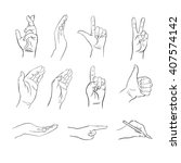 hands with different gestures ... | Shutterstock .eps vector #407574142