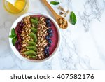 berry smoothie with yogurt in a ... | Shutterstock . vector #407582176
