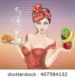 pop art woman with food tray....