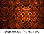 glass orange lit vine bottles... | Shutterstock . vector #407584192