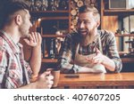 sharing good news. barista and... | Shutterstock . vector #407607205