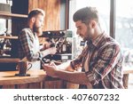 spending time at coffee shop.... | Shutterstock . vector #407607232