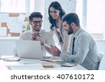 great business meeting.  three... | Shutterstock . vector #407610172