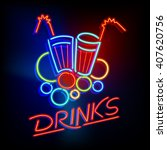 """Neon Light Sign with a Title """"Drinks"""" and Glasses with Straws in Retro Style 