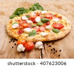 pizza on wooden background ... | Shutterstock . vector #407623006