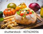 healthy given panzanella ... | Shutterstock . vector #407624056