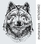 sketch of the wolf head | Shutterstock .eps vector #407630482