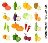 set of fresh healthy vegetables ...   Shutterstock .eps vector #407635435