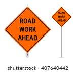 road work ahead traffic sign... | Shutterstock .eps vector #407640442
