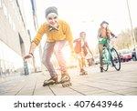 group of teens making... | Shutterstock . vector #407643946