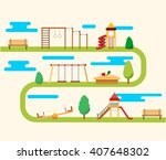 kids playground. buildings for... | Shutterstock .eps vector #407648302