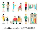 vector shopping and shipping... | Shutterstock .eps vector #407649028