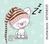 Sleeping Cute Kitten In A Hood...