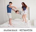 young family having fun... | Shutterstock . vector #407664556