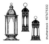 fanous.ramadan lanterns vector... | Shutterstock .eps vector #407675332