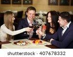 friends at a restaurant... | Shutterstock . vector #407678332