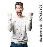 young man winner gesture | Shutterstock . vector #407681605