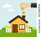 hand putting coin in house...   Shutterstock .eps vector #407684965