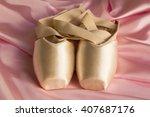 ballet shoes on silk pink... | Shutterstock . vector #407687176