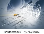 concept of dream house draw by... | Shutterstock . vector #407696002
