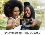 afro friends having fun in the... | Shutterstock . vector #407701252
