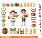 vector set of characters and... | Shutterstock .eps vector #407708986