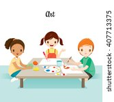children relaxing in art class  ... | Shutterstock .eps vector #407713375