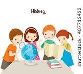children in history class  back ... | Shutterstock .eps vector #407713432