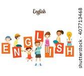 children with english alphabets ...   Shutterstock .eps vector #407713468