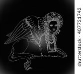 sphinx  mythical creature with... | Shutterstock .eps vector #407721742
