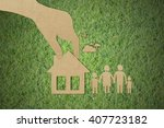 paper cut of eco on green grass ... | Shutterstock . vector #407723182