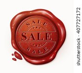 sale red wax seal over white... | Shutterstock . vector #407727172