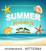 summer holiday on beach view... | Shutterstock .eps vector #407732866
