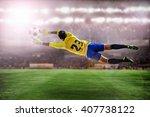 soccer goalkeeper flying to... | Shutterstock . vector #407738122