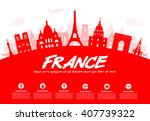 france  paris travel landmarks. ... | Shutterstock .eps vector #407739322