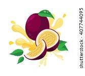 fresh passion fruit | Shutterstock .eps vector #407744095